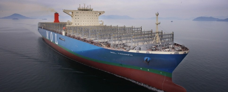 Larger sizes allow containerships to carry more shipments of export cargo and import cargo in international trade.