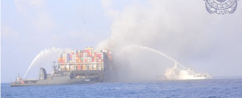 Fire broke out on ship while carrying shipments of export cargo and import cargo in international trade.