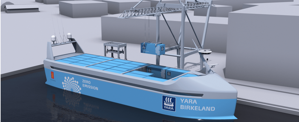 Autonomous vessel will be used to carry shipments of export cargo and import cargo in international trade.