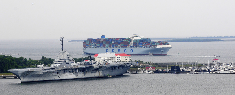 Ports seek to accommodate big ships carrying shipments of export cargo and import cargo in international trade.