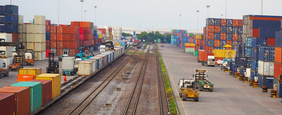Rail moves shipments of export cargo and import cargo in international trade to and from ocean ports.