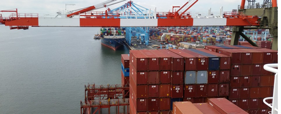 Container ships carry shipments of export cargo and import cargo in international trade.