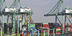 Portecting from cyber threats ports that handle shipments of export cargo and import cargo in international trade.