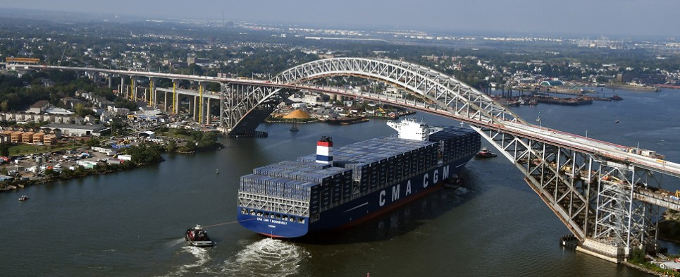 Raising of Bayonne Bridge allows port of NYNJ to handle more shipments of export cargo and import cargo in international trade.