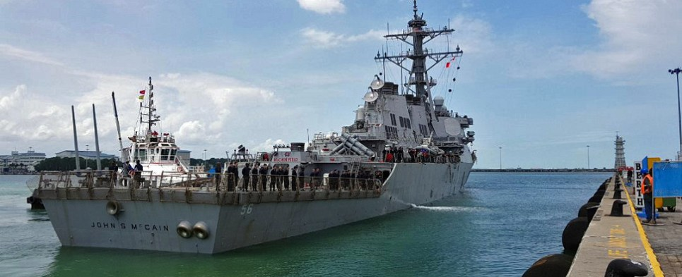Navy ships collided with vessels carrying shipments of export cargo and import cargo in international trade.