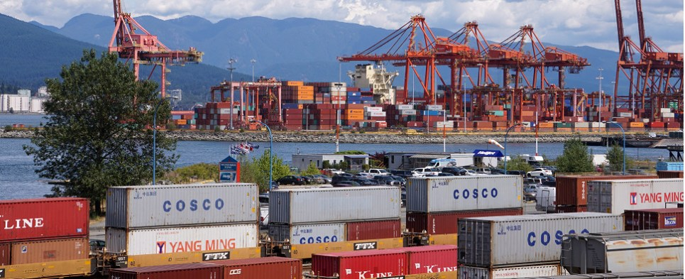 On-dock rail move ocean shipments of export cargo and import cargo in international trade.