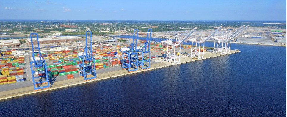 The port of Baltimore if handling more shipments of export cargo and import cargo in international trade.