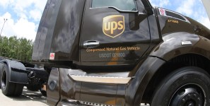 UPS uses alternative fuel vehicles to deliver shipments of export cargo and import cargo in international trade.