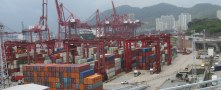 Port company reports fewer shipments of export cargo and import cargo in international trade.