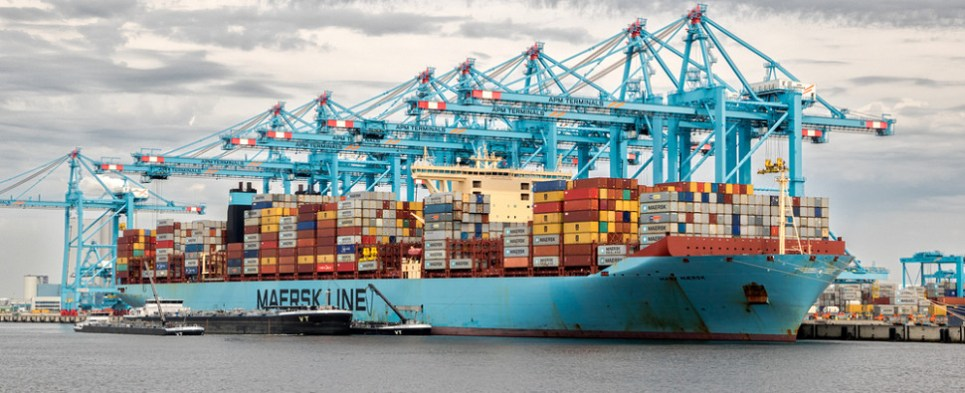 Maersk is carrying more shipments of export cargo and import cargo in international trade.