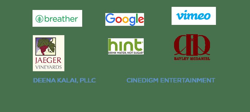 2016 Sponsors: Breather, Bayley McDaniel, Google, Hint, Jaeger Vineyards, Vimeo, Deena Kalai PPLC and Cinedigm Entertainement