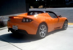 When you compare battery to gasoline power, electricity wins hands down. Pictured: The all-electric Tesla Roadster sportscar from Tesla Motors