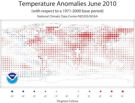 Temperature anomalies for June 2010 - courtesy NOAA