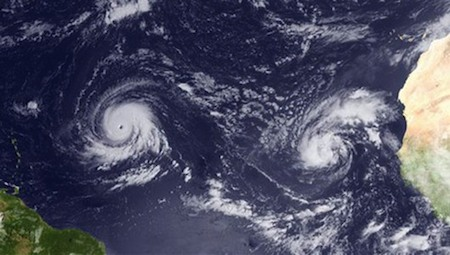 Igor and Julia active simultaneously in the Atlantic