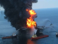 The Vermilion oil rig aflame in the Gulf of Mexico