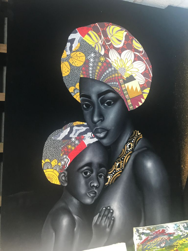 Painting of a mother and Daughter at lekki arts market