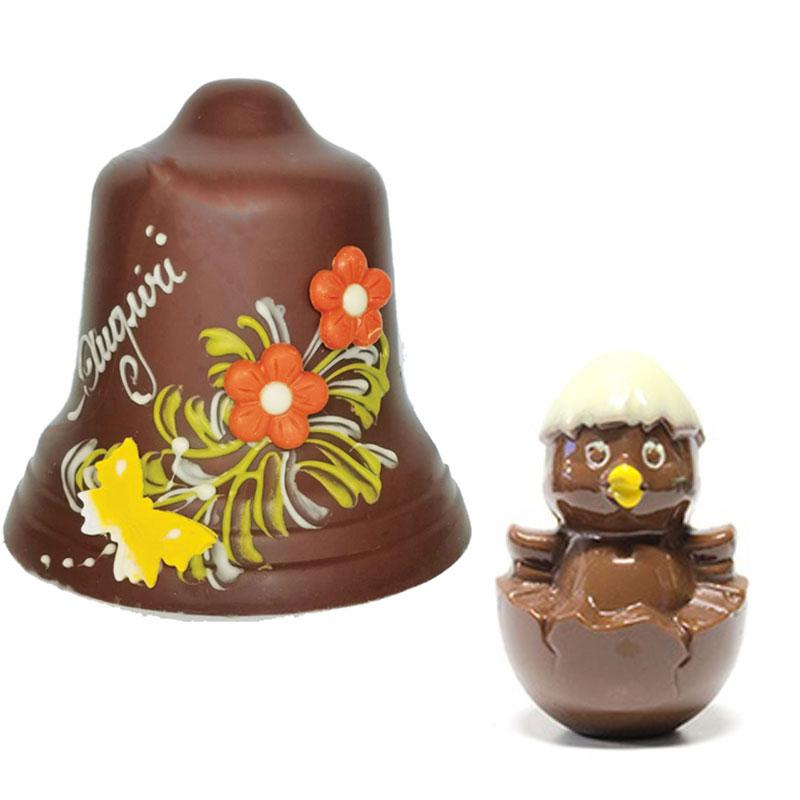 Campana di cioccolato più Pulcino