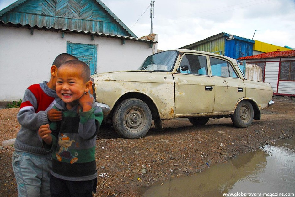 Kids playing in the small town of Kochkor, Kyrgyzstan