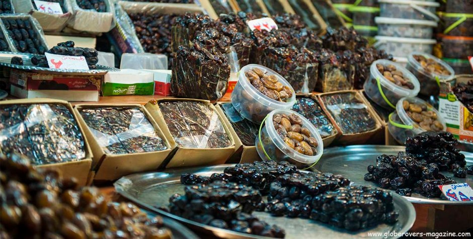 Great selection of dates at the bazaar, Tabriz, Iran