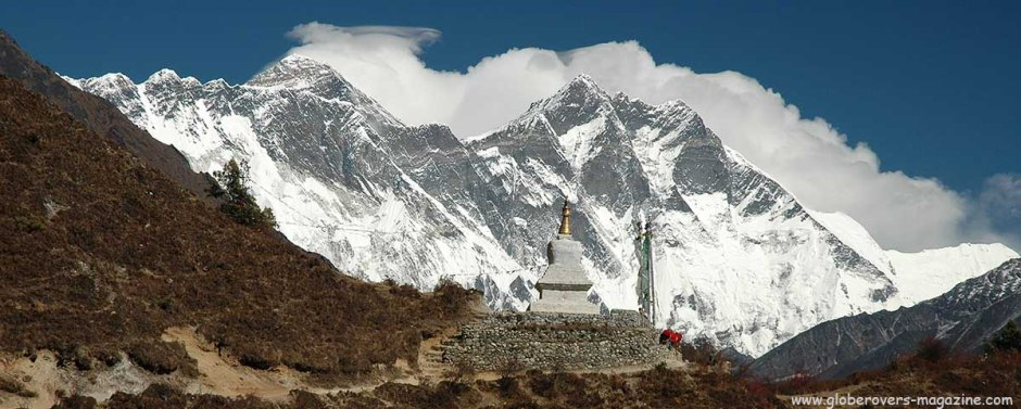 Mnt. Everest (L), South of Tengboche towards Namche Bazar, Himalayas, Nepal