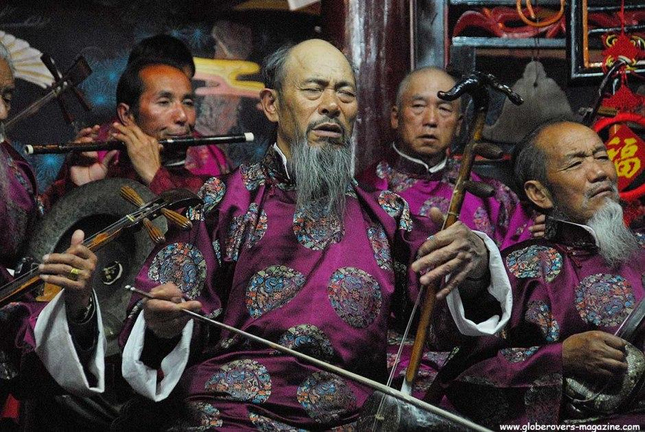 Naxi orchestra in Dayan Naxi concert hall, Lijiang, Yunnan, CHINA