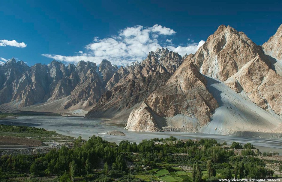 Passu Cathedral Peak, South of Passu Glacier, north of Gulmit Village in the Upper Hunza Valley north of the Attabad Lake, Hunza Vallay, PAKISTAN
