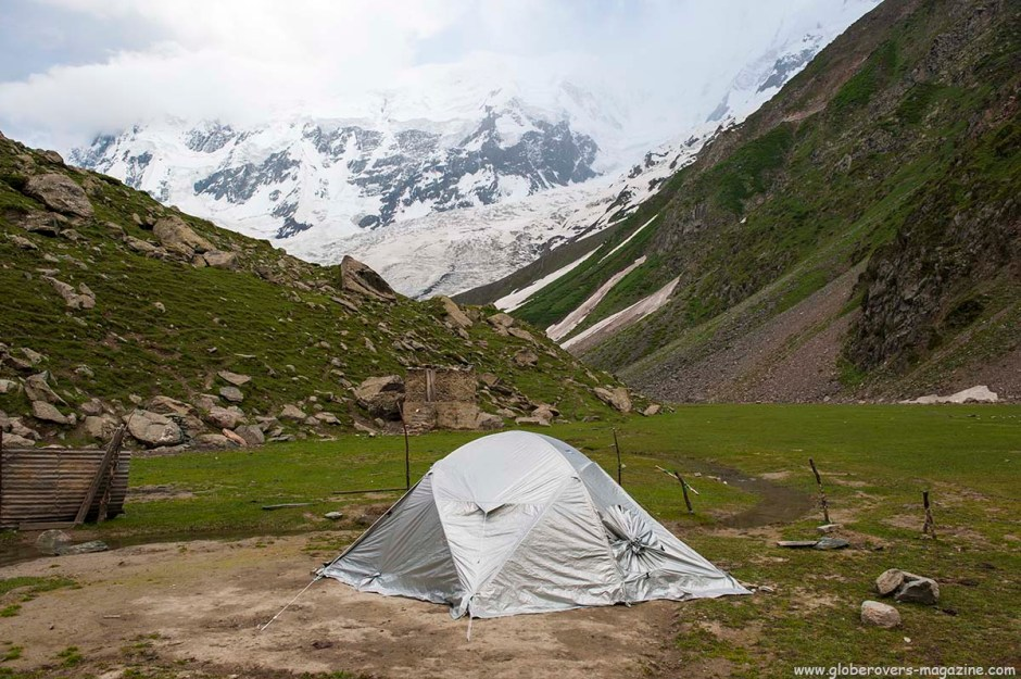 Campling next to Minapin Glacier at Rakaposhi Base Camp, Hunza Vallay, PAKISTAN
