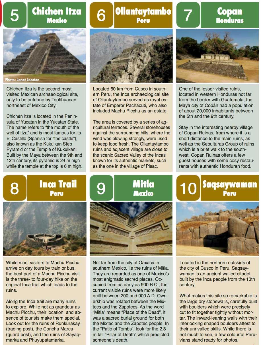 Latin America Ruins Top 10