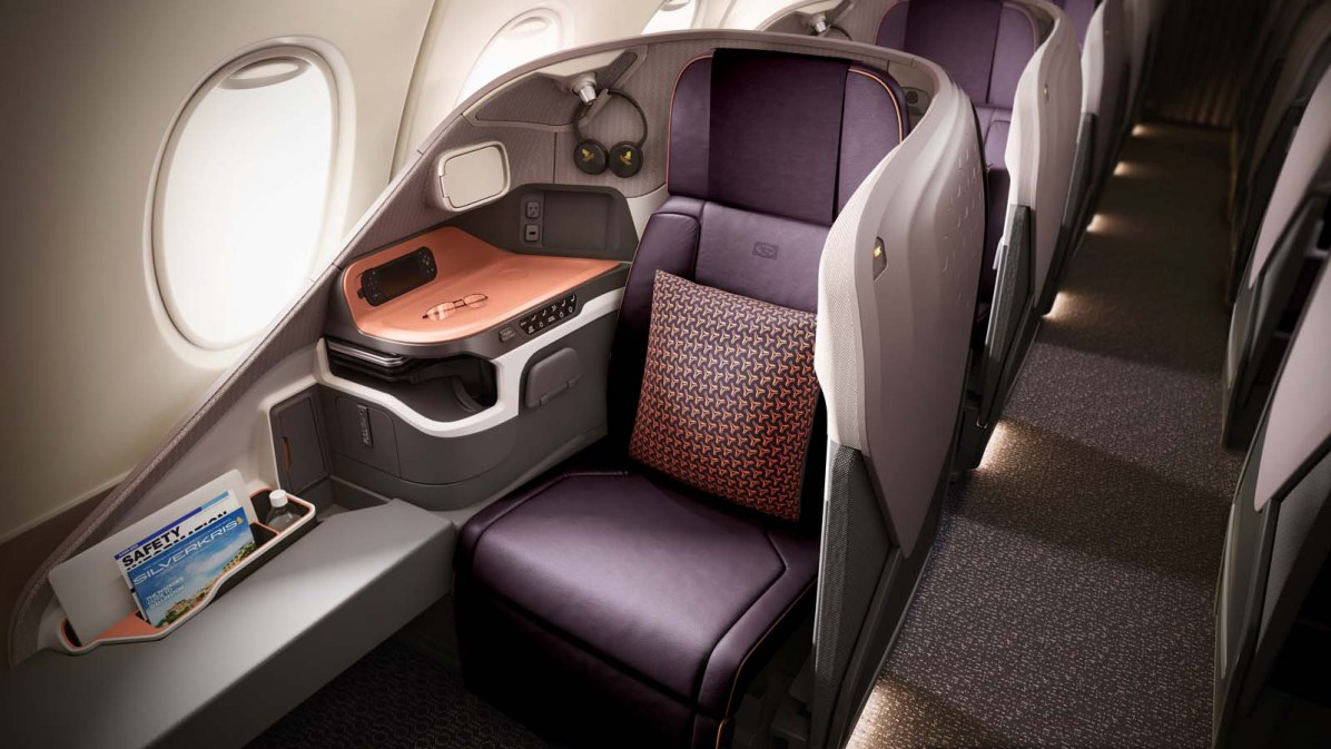 Business Class Sitz des A380 von Singapore Airlines