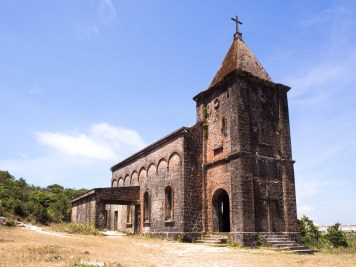 Abandoned old church in Bokor mountain