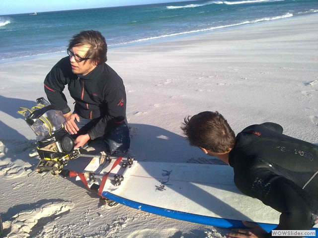 Rigging a camera on a surfboard