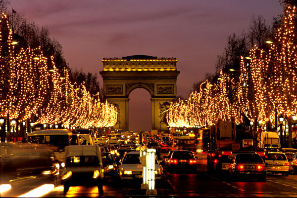 Champs Elysees with Christmas Lights