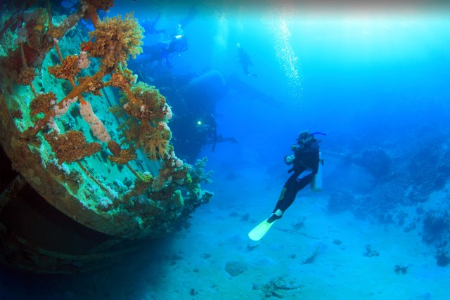 A diver exploring a Japanese shipwreck in the underwater of Coron Bay. (photo credit: twoseasonsresorts.com)