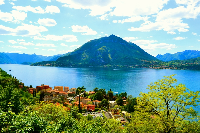 View to Varenna town, lake Como and Menaggio in summer.