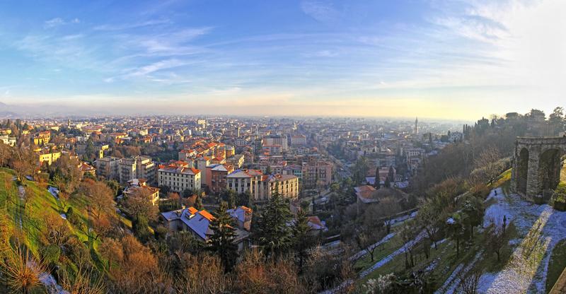 Panoramic aerial view of Bergamo city, Italy