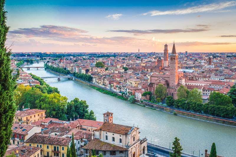 Sunset in Verona, italy