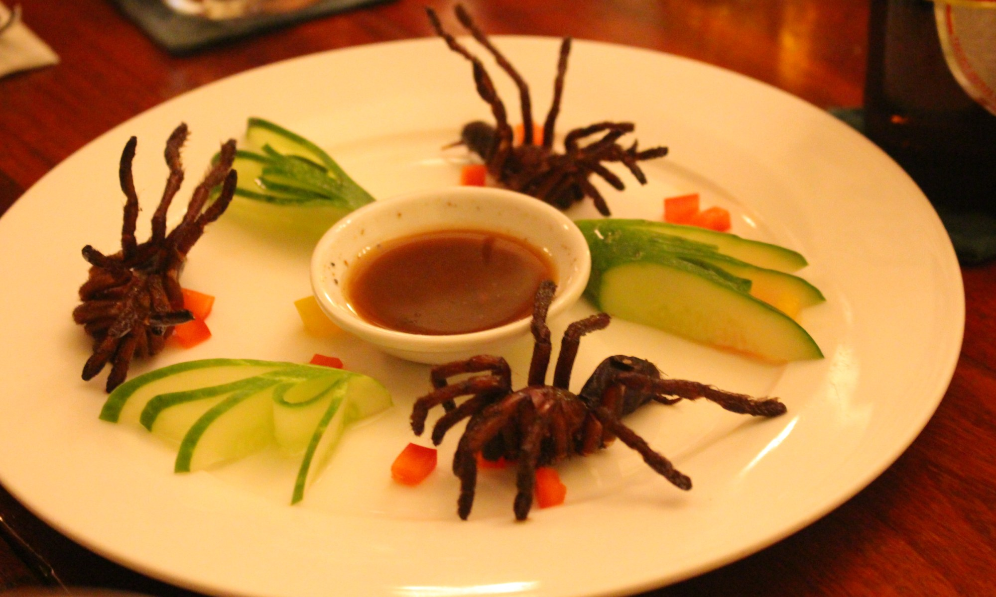 Fried tarantula, Romdeng restaurant in Cambodia