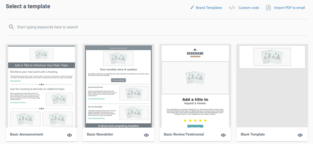 Select the template. for email list building