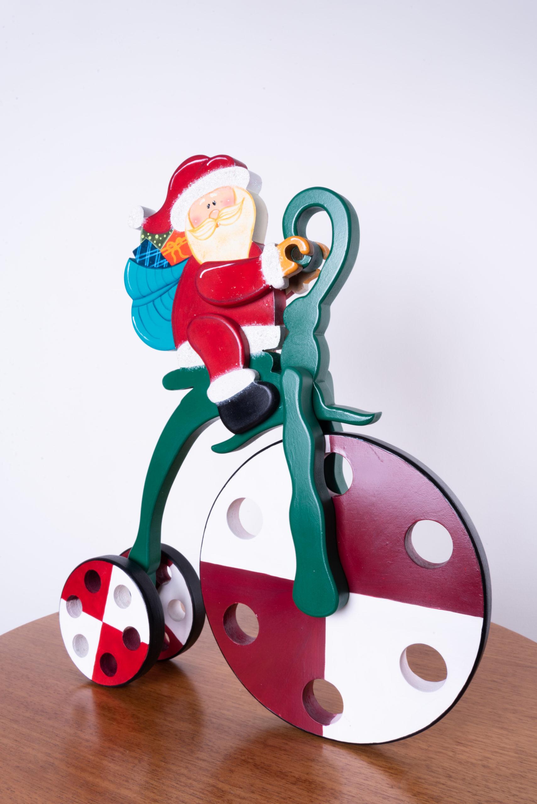 Papá Noel en bicicletra navideño country