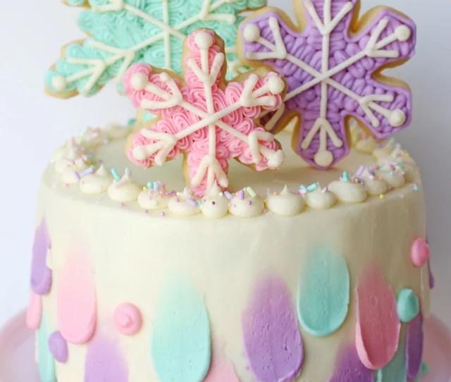 Pastel Snowflake Cake