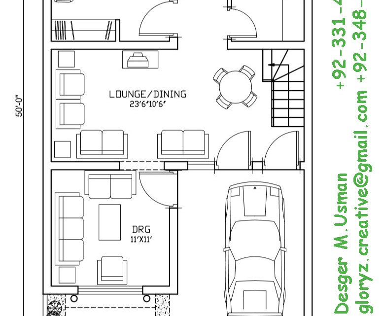 25×50 House plan, 5 Marla House Plan – Glory Architecture