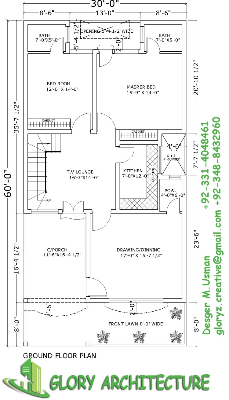 30×60 House plan, 6 marla house plan – Glory Architecture