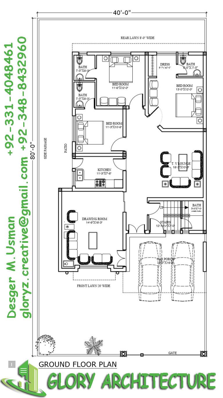 40X80 House Plan, 10 marla house plan, 12 marla house plan ...