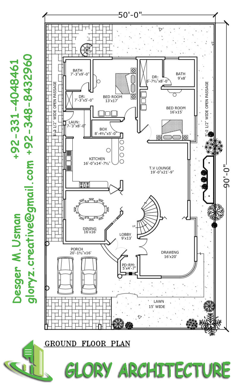 1 kanal house plan