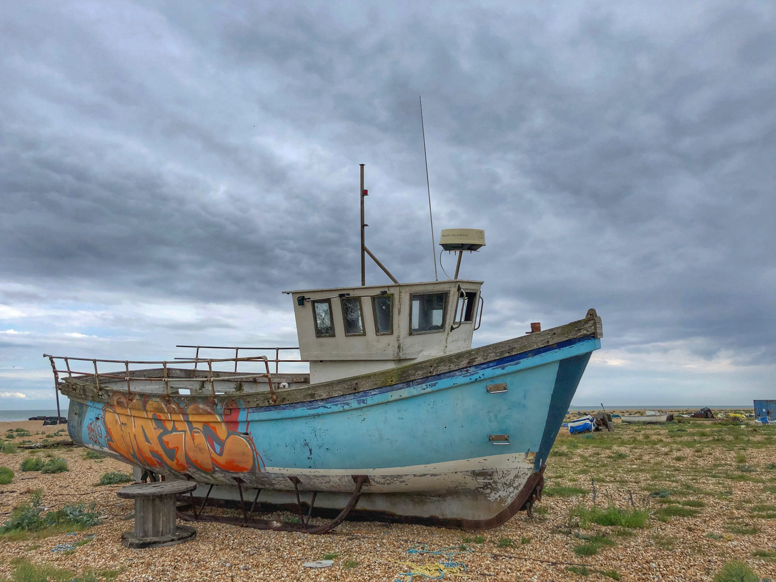 abandoned boat on Dungeness beach