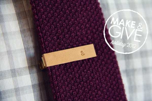 DIY Gifts Ideas For Boyfriend: Stamped Leather Tie Clip via Lovely Indeed
