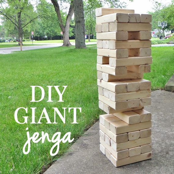 DIY Gifts For Boyfriend: Giant Jenga Game via Creative Green Living