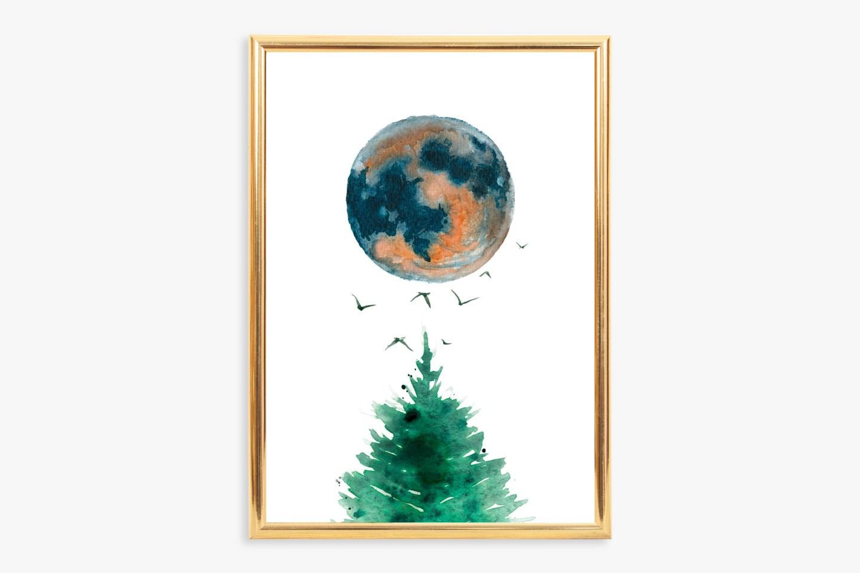 Watercolor Nature Wall Art Printables: Moon