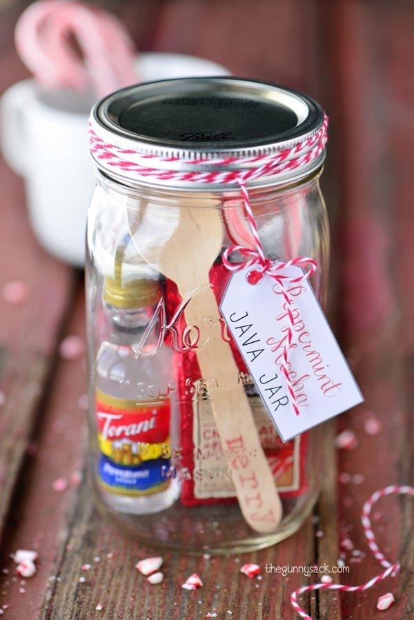 DIY Mason Jar Christmas Gift Ideas: Peppermint Mocha Java Jar