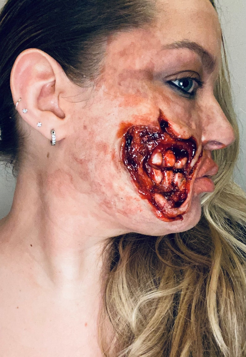 Silicone Ripped Mouth Zombie Halloween Face Prosthetics